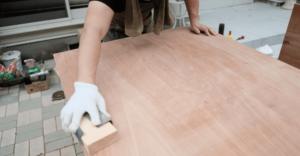 作業台テーブルの研磨